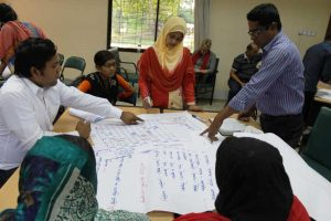 Knowledge Group participants discuss their findings from the VRA activities. Tala, Bangladesh November 2016. Photo: J.Fullwood-Thomas